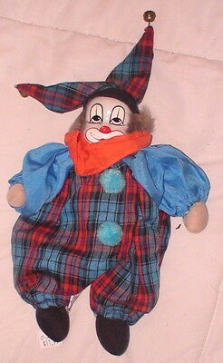"Clown Doll Thailand Porcelain Hand Painted Face Weighted Bottom Cloth 9"" High"