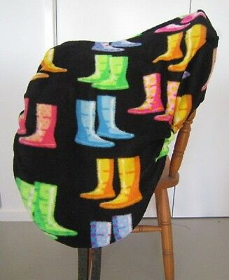 Horse Saddle cover Black with Gumboots FREE EMBROIDERY Australian Made