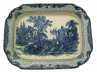 Adams Landscape Meat Plate or Ashet Blue and White Platter