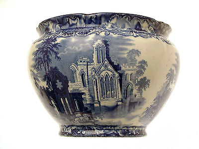 George Jones Abbey Ware 8.25 Inch Jardiniere Antique Planter Blue and White