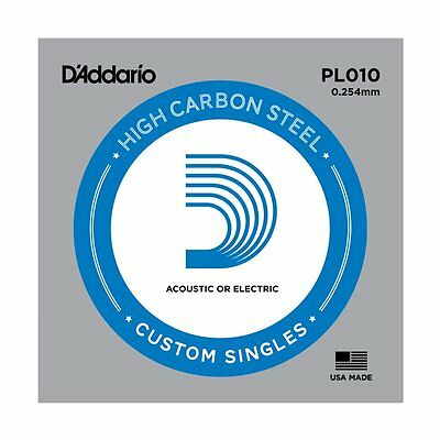 5 X D'ADDARIO PLAIN STEEL SINGLE GUITAR PL010. Electric or Acoustic 5 Pack