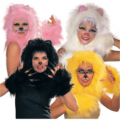 Cats Kit Black, Gold, Pink or White Costume Accessory Set Adult Halloween