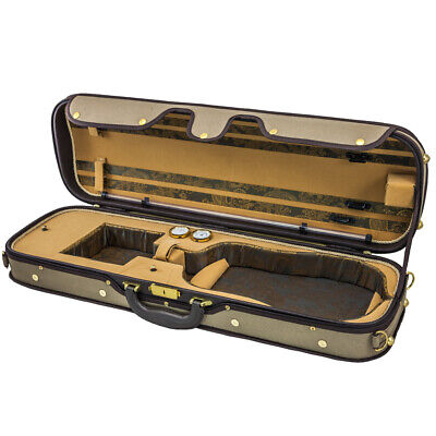 Luxury Euro-Style 4/4 Violin Case Oblong Brown/Light Brown/Tan