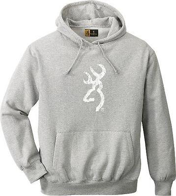 Browning GRAY GREY Pull-Over HOODIE/ White BUCKMARK *Heavyweight Sweatshirt NEW
