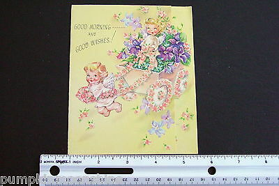 #D599- Vintage Get Well Greeting Card Cute Pair of Angels Riding a Flower Cart