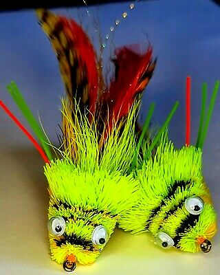 Select Quantity /& Size Mini Hair Diver Frog Chart//Orange//Yellow Fly Fishing Fly