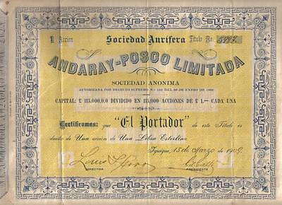 Original Chile 1909 Andaray Posco Aurifera Gold Mining Iquique £1 Uncancelled