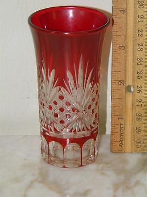 Antique Bohemian Ruby Red Cut To Clear Glass 4'' High