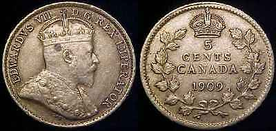 CANADA 1909 Pointed Leaves Silver Five Cents XF ***