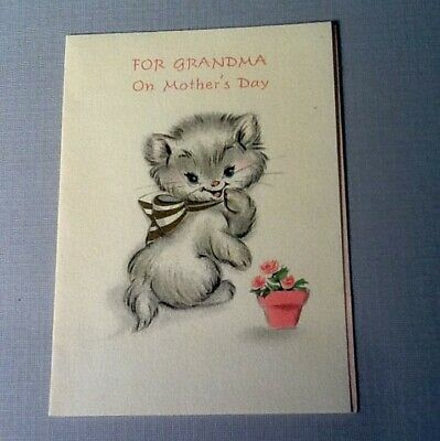 #C817- Vintage Mother's Day Greeting Card Adorable Cat With Pink Flower Pot