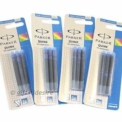 12 PARKER Quink Ink Cartridges - Blue Colour - Fits All Parker Fountain Pens