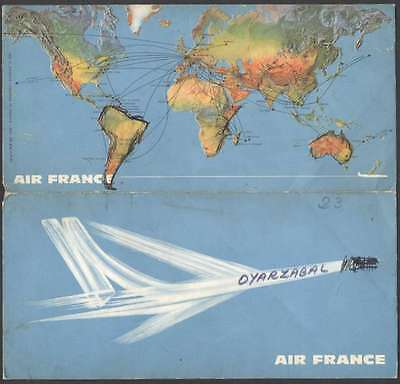 BROCHURE AIR FRANCE Airlines Ticket Holder Map Of Route 1967 ...