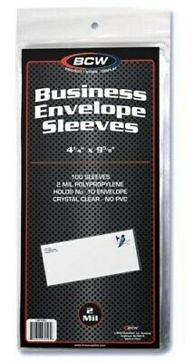 Pack of 100 BCW Business Envelope #10 Archival 2-Mil Soft Poly Sleeves acid free