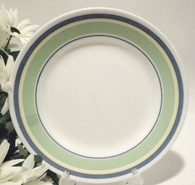 """1 Corelle SATURN Bands 8 1/2"""" BLUE GREEN YELLOW Lunch LUNCHEON SALAD Plate *New"""