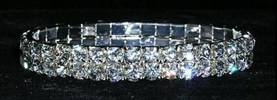 Two Row Silver Diamante Stretch Bracelet (Wedding/Prom/Special Occasion/Party)