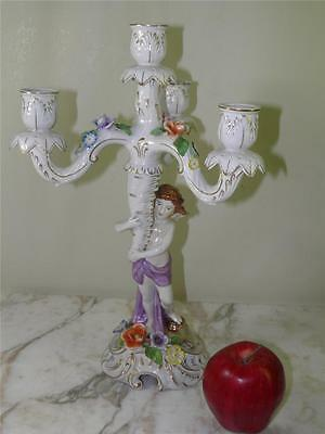 Vintage German Porcelain Figural Cherub Floral Candlelabra Candle Holder Wahliss