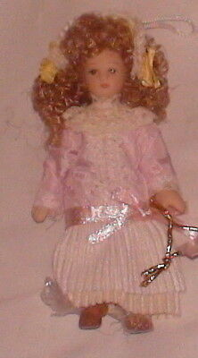 """NEW Porcelain Doll Pale Pink White Trim Dress Victorian Treasure 4"""" High Jointed"""