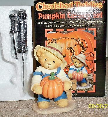 Cherished Teddies Halloween Pumpkin Carving Set Ed 1999 Exclusive Figurine NIB