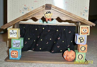 Cherished Teddies Beary Scary Halloween House Background Stage NIB Retired 1995