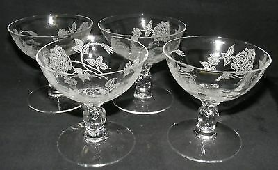 Heisey Rose Set of 4 Low Sherbets -Repaired