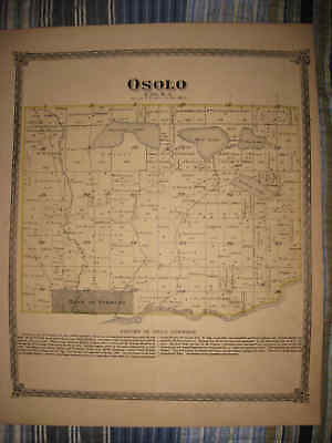 ANTIQUE 1874 OSOLO TOWNSHIP ELKHART CITY COUNTY INDIANA HANDCOLORED MAP Fine NR