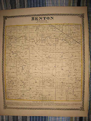 Antique 1874 Benton Township Elkhart County Indiana Handcolored Map Superb Nr