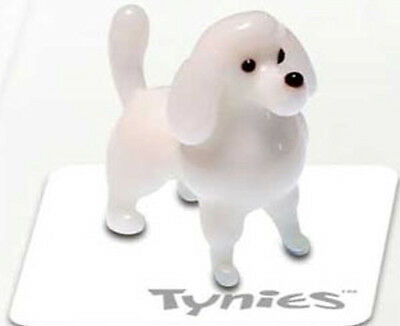 PIA White Poodle Dog Show TYNIES Tiny Glass Figure Figurines Collectibles 0114
