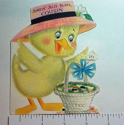 #B337- Vintage Easter Greeting Card Flocked Yellow Duckling With Pink Hat