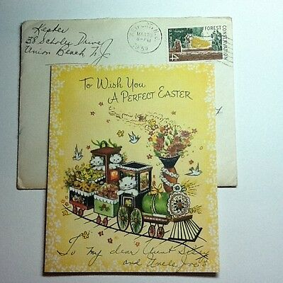#A412- Vintage 1959 Easter Greeting Card White Kittens On An Easter Train Cute!