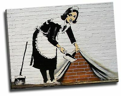 Banksy Maid Sweeper Giclee Canvas Picture Wall Art