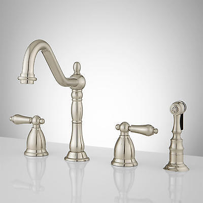 Brushed Satin Nickel Kitchen Faucet Contemporary Euro Style with Sprayer