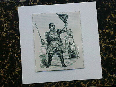 greetings card with ANTIQUE PUNCH CARTOON king of france / tahiti - louis philip