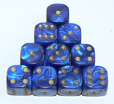 10 of Blue Pearl Dice  - Six Sided Spot Dice, size 16mm - D6 RPG Wargaming