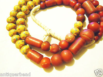 Vintage Venetian Mix Large Red White Heart Glass Beads- Africa Trade Beads