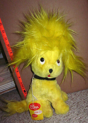 ELKA TOYS vtg yellow puppy OG doll 1960s w/ tag New York wild stuffed animal