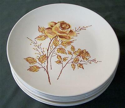 6 Vintage Taylor Smith & Taylor Ironstone Yellow Rose Salad Plates