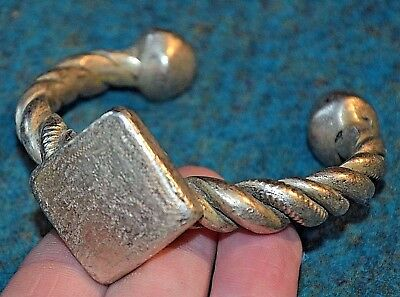 Antique African Tuareg  Ethnic Silver Tribal Metal Bracelet From Mali, Africa