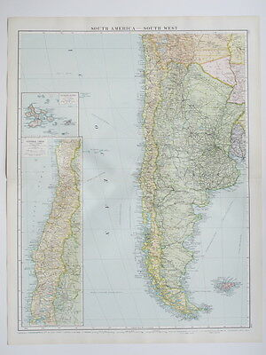 1920 South America Argentina Chile Falkland Islands Large Colour Map Gross