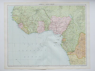 1920 Map West Africa Large Colour Map Gross