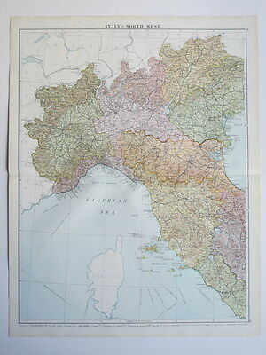 1920 Map Italy North West Large Colour Map Gross