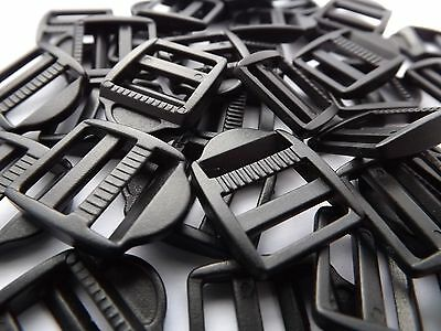 10 x 15mm Black Plastic Ladderlock Slide Buckle Fastening