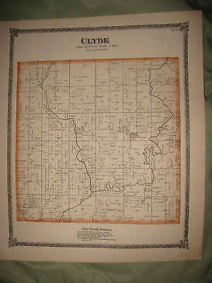 Antique 1872 Clyde Township Whiteside County Illinois Handcolored Map Superb Nr