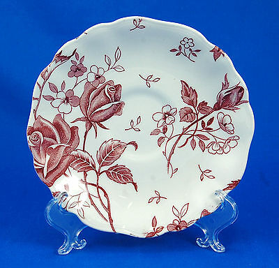 J and G Meakin TUDOR ROSES - PINK Saucer Only 5.625 in. Scalloped Staffordshire