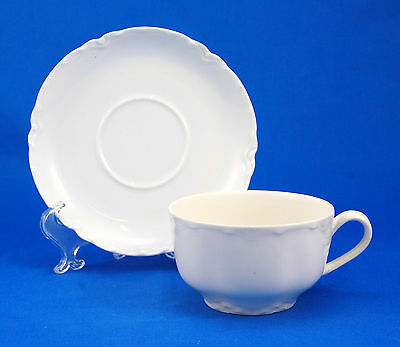 Haviland and Co. RANSON Flat Cup and Saucer Set 2 in Schleiger 1 White Scalloped