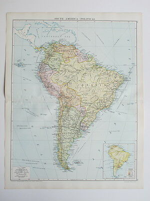 1920 Map South America Large Colour Map Gross