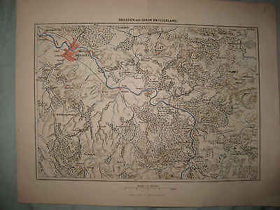 SUPERB ANTIQUE 1870 DRESDEN GERMANY and SAXON SWITZERLAND MAP RARE FINE NR