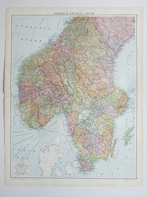 1920 Map Norway & Sweden South Large Colour Map Gross