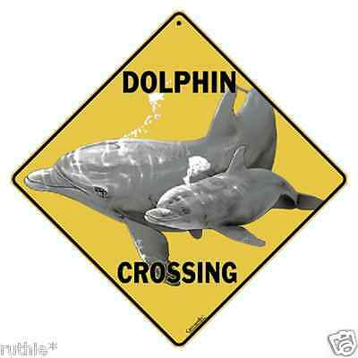 "Dolphin with Baby Metal Crossing Sign 16 1/2"" x 16 1/2"" Diamond Shape  USA #250"