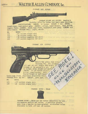 1949 Crosman Arms Silent Air Rifle Pistol Gun Toy Price List Advertisement