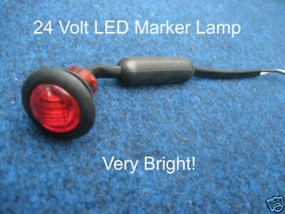Button 24v Red LED Marker light/lamp Truck/Recovery